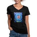 Flower Aura Women's V-Neck Dark T-Shirt