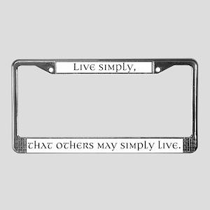 Live Simply License Plate Frame