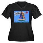 Floating Boat Women's Plus Size V-Neck Dark T-Shir