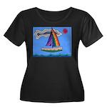 Floating Boat Women's Plus Size Scoop Neck Dark T-