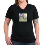 Orchid in Repose Women's V-Neck Dark T-Shirt
