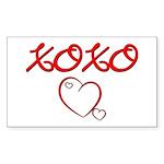XOXO Heart Rectangle Sticker