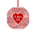 I Love You Heart Ornament (Round)