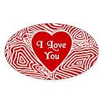 I Love You Heart Oval Sticker