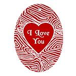 I Love You Heart Oval Ornament