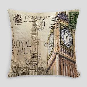 vintage london big ben Everyday Pillow