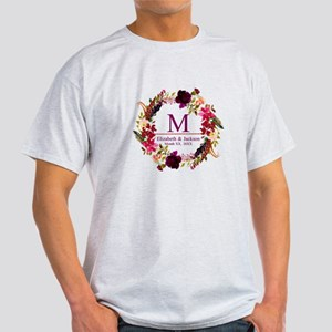 Boho Wreath Wedding Monogram T-Shirt