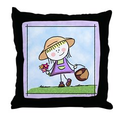 Garden Girl Throw Pillow