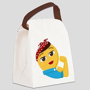 Emoji Rosie the Riveter Canvas Lunch Bag