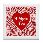 I Love You Heart Tile Coaster