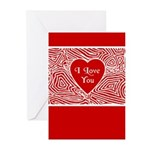 I Love You Heart Greeting Cards (Pk of 20)