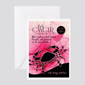 Cancer Birthday For Her Pink June Greeting Cards