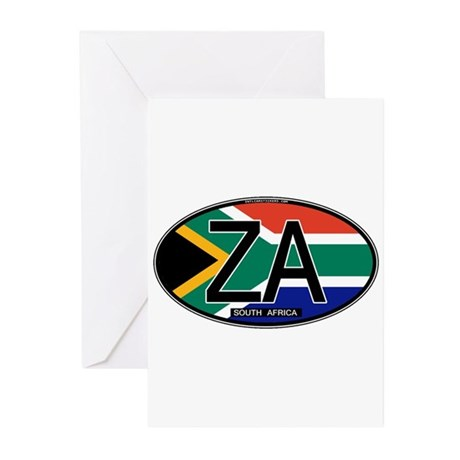 South Africa Colors Oval Greeting Cards (Pk of 10)