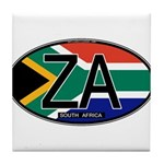 South Africa Colors Oval Tile Coaster