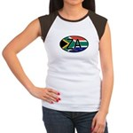 South Africa Colors Oval Women's Cap Sleeve T-Shir