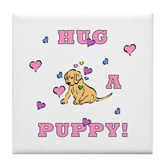 Puppy Hugs Tile Coaster