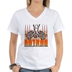 FLAMED HOT ROD Women's V-Neck T-Shirt