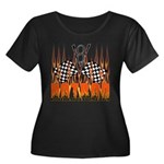 FLAMED HOT ROD Women's Plus Size Scoop Neck Dark T