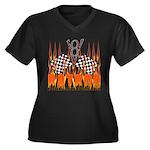 FLAMED RAT ROD Women's Plus Size V-Neck Dark T-Shi