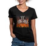 FLAMED RAT ROD Women's V-Neck Dark T-Shirt