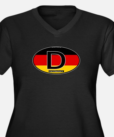 Germany Colors Oval Women's Plus Size V-Neck Dark
