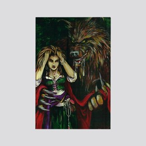 Werewolf and Red Rectangle Magnet