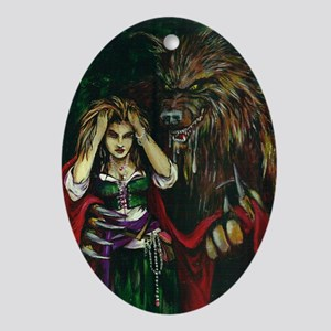 Werewolf and Red Oval Ornament
