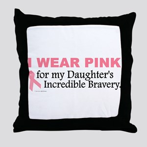 Pink For My Daughter's Bravery 1 Throw Pillow