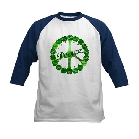 Irish Peace Love and Shamrocks Kids Baseball Jerse