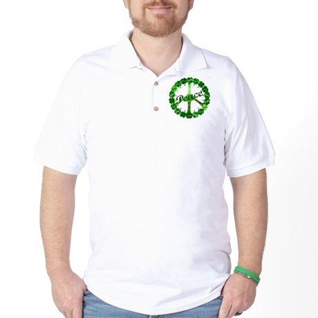 Irish Peace Love and Shamrocks Golf Shirt