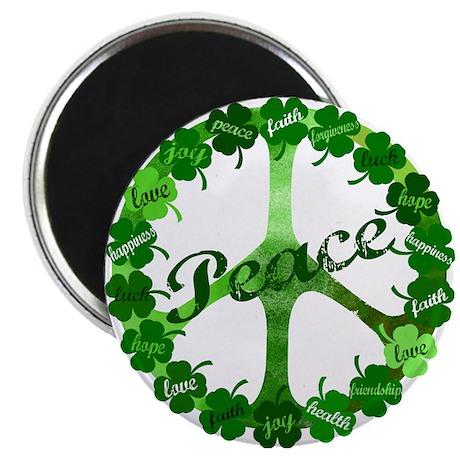 """Irish Peace Love and Shamrocks 2.25"""" Magnet (10 pa"""