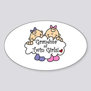 Grandma of Twin Girls Oval Sticker
