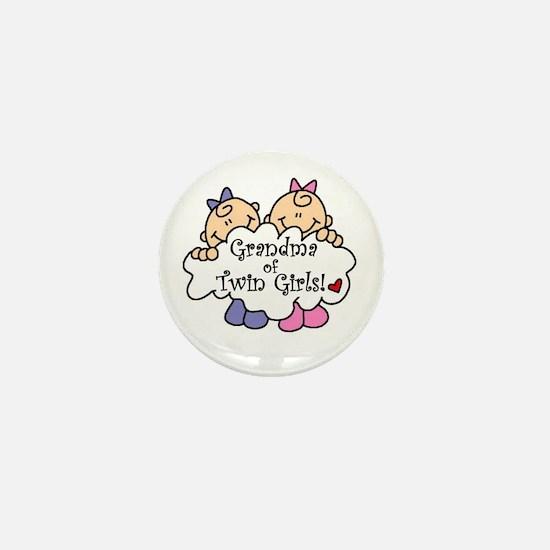 Grandma of Twin Girls Mini Button