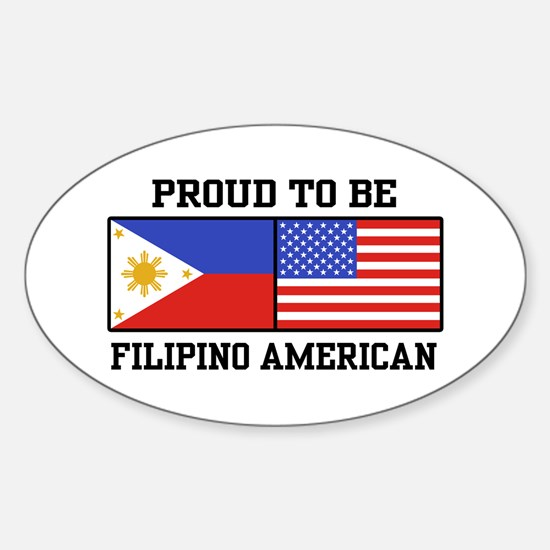 Proud Filipino American Oval Decal