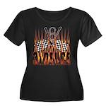 3 DEUCE Women's Plus Size Scoop Neck Dark T-Shirt