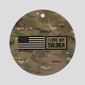 U.S. Army: I Love My Soldier (Camo) Round Ornament