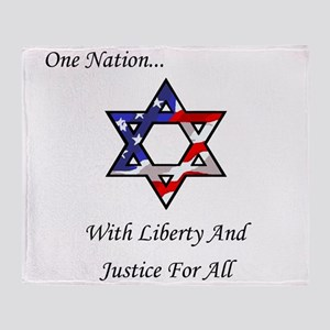 One Nation Jewish Throw Blanket