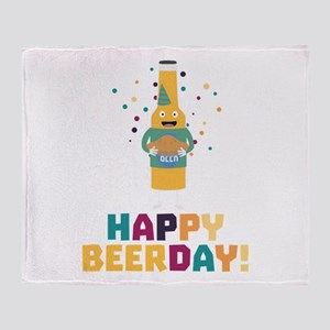 Happy Beerday Beerbottle Chnp3 Throw Blanket