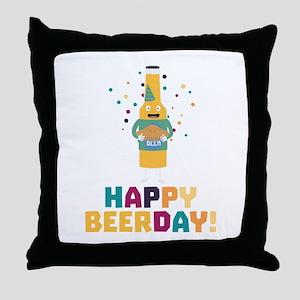 Happy Beerday Beerbottle Chnp3 Throw Pillow