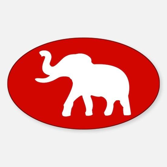 USA Elephant Oval Sticker -Red
