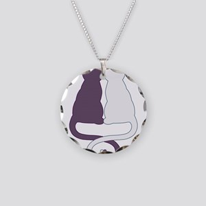 Cat Pair Necklace Circle Charm