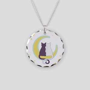Moon Cats Necklace Circle Charm