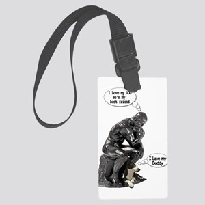 The Thinker & His Dog Large Luggage Tag