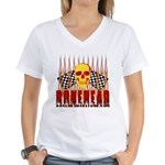 BONEHEAD W TALL FLAMES Women's V-Neck T-Shirt