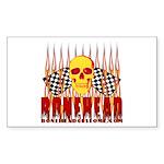 BONEHEAD W TALL FLAMES Rectangle Sticker