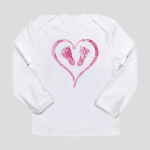 WatercolorBabyFeetHeart Long Sleeve T-Shirt