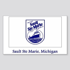 Sault Ste Marie MI Flag Rectangle Sticker