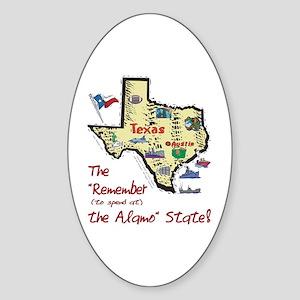 TX-Alamo! Oval Sticker