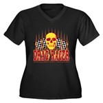 DRAG RACER Women's Plus Size V-Neck Dark T-Shirt