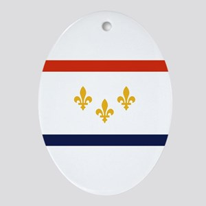 New Orleans Flag Oval Ornament